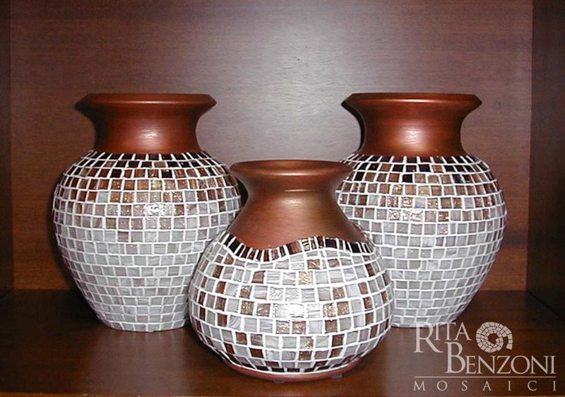 Vasi Terracotta Decorazione Mosaico Vetro