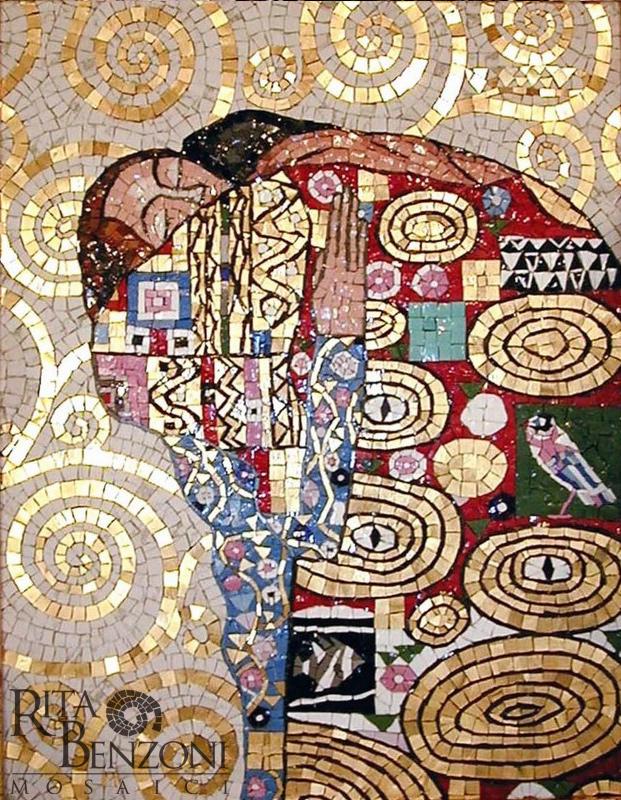 Abbraccio Klimt mosaico