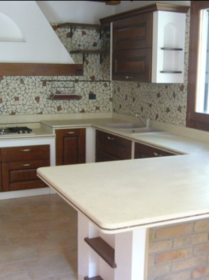 Cucina - Piano, rivestimento marmo mosaico