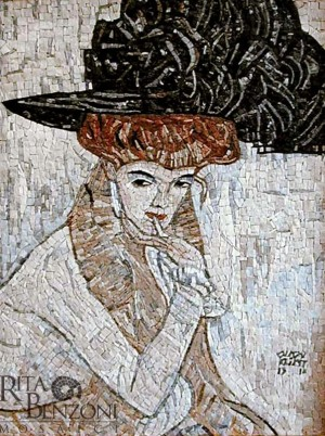 Donna cappello piume Klimt