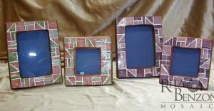 Portafoto in terracotta con tessere in vetro
