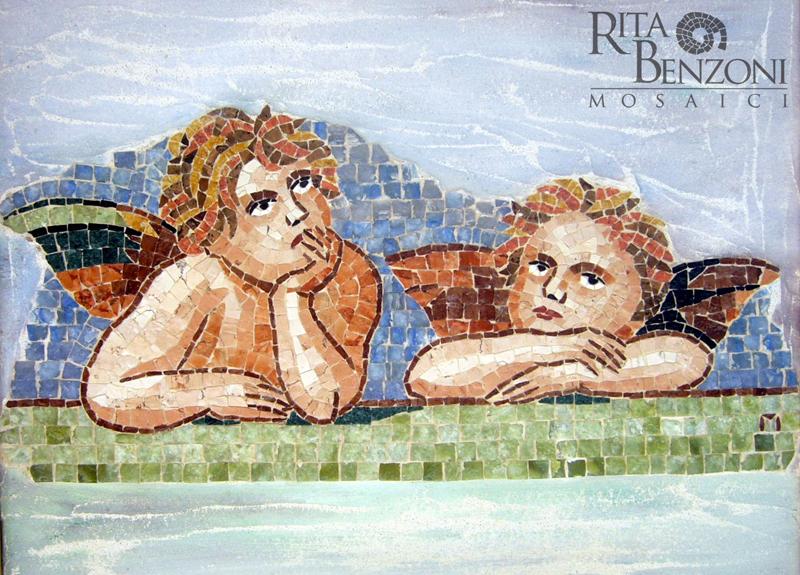 Putti di Raffaello mosaico in marmo