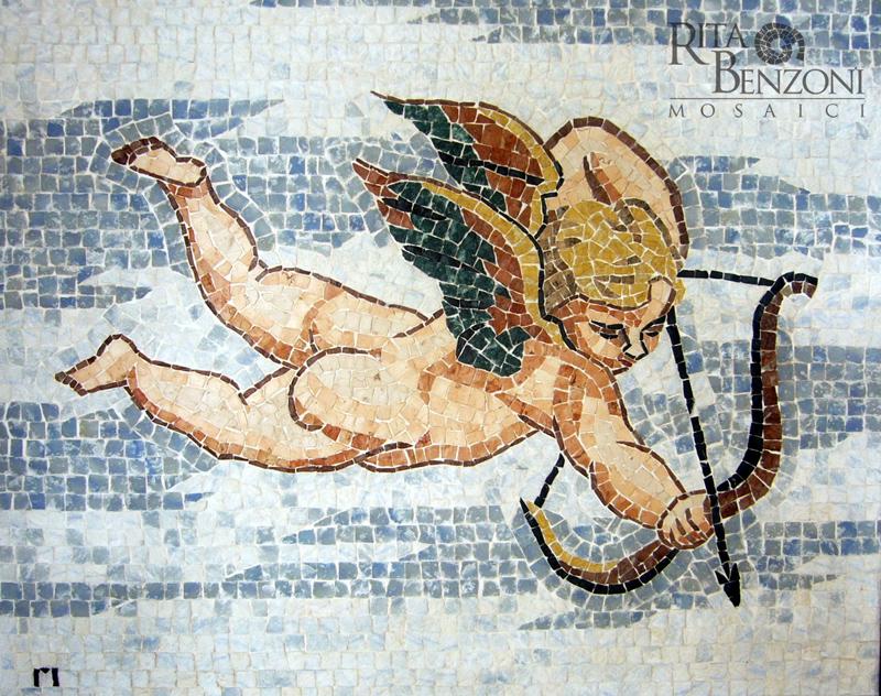 Amorino - mosaico in marmo